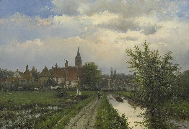 Koekkoek W.  | Landscape with village in the background, oil on canvas 40.8 x 58.5 cm, signed l.r.