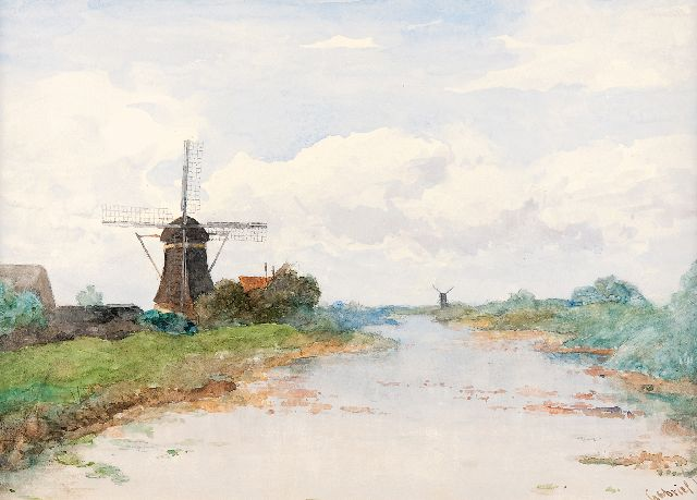 Paul Joseph Constantin Gabriel | View on the Proosdijer windmill on the river Winkel, watercolour on paper, 36.1 x 53.3 cm, signed l.r.