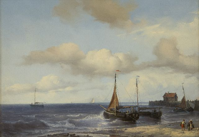Louis Meijer | Fishing ships in the breakers, oil on canvas, 32.4 x 46.0 cm, signed l.l. and dated 1847