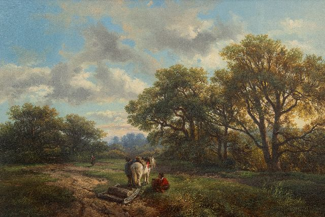 Roelofs W.  | Along the forest edge, oil on canvas 48.4 x 69.0 cm, signed l.r. and panted ca. 1850
