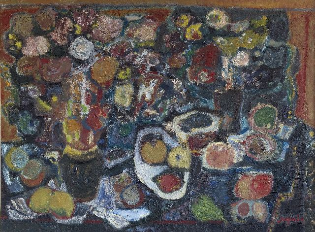 Jaap Min | Still life with fruit and flowers, oil on canvas, 75.0 x 100.0 cm, signed l.r.