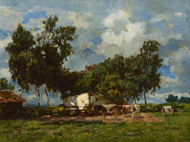 Willem de Zwart | View on farmhouse with cattle, oil on canvas, 50.1 x 65.2 cm, signed l.r.