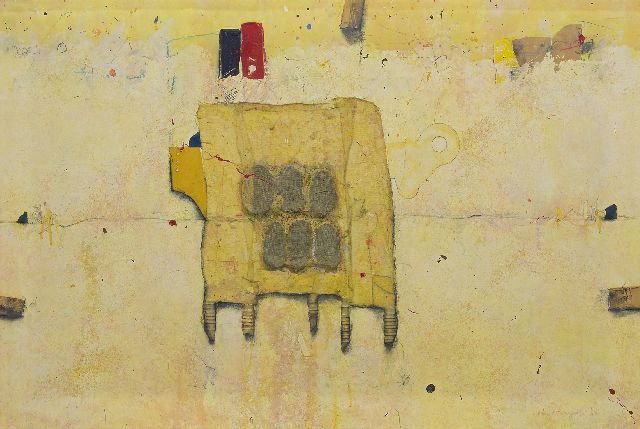 Morgan C.  | 6 Elements of Surprise, mixed technique and collage on canvas 80.0 x 120.0 cm, signed l.r. and dated '95