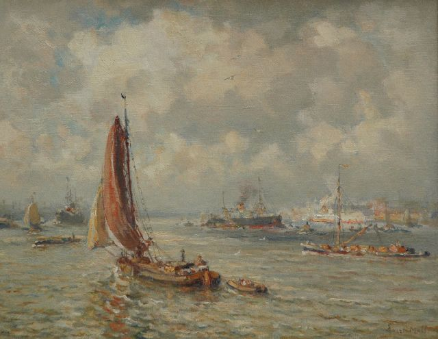 Evert Moll | A harbour view of Rotterdam, oil on canvas, 40.3 x 50.0 cm, signed l.r.