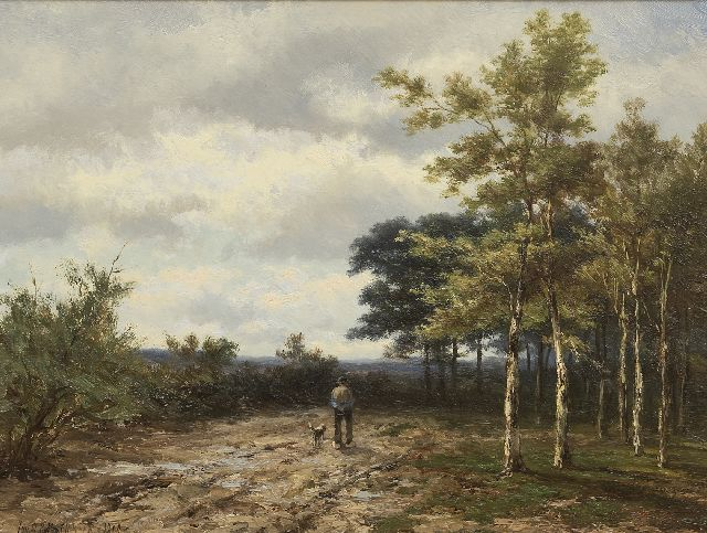 Jan H.B. Koekkoek | Strolling farmer with his dog, oil on panel, 38.1 x 49.8 cm, signed l.l. and dated 1898