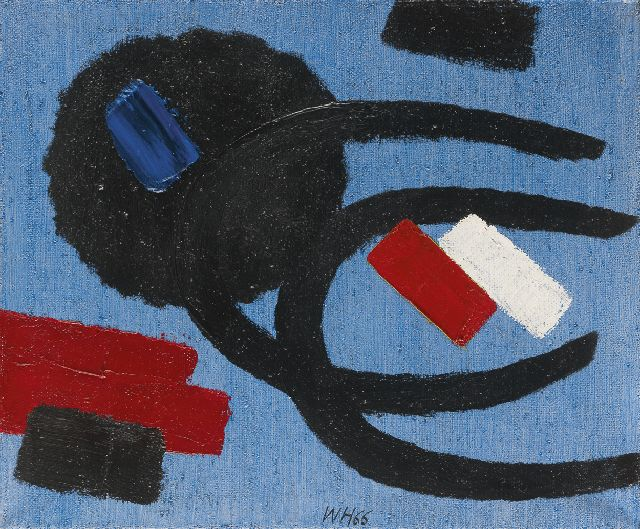 Willem Hussem | Composition, oil on canvas, 50.7 x 60.6 cm, signed l.c. with initials and dated '66