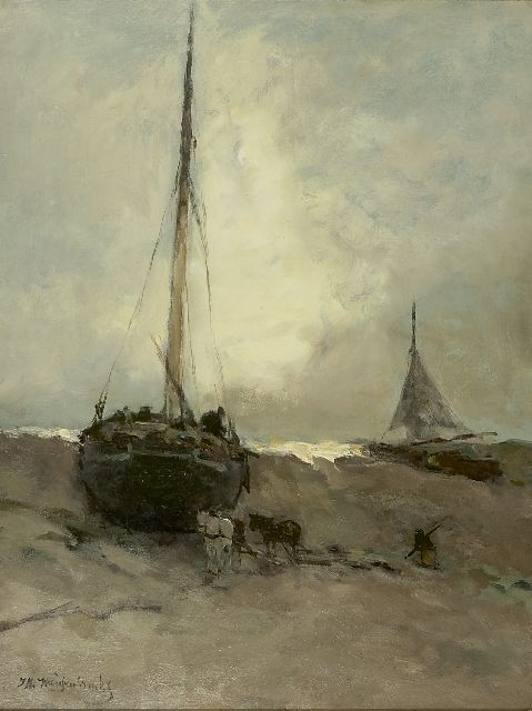 Jan Hendrik Weissenbruch | Fishing boats on the beach, oil on canvas, 56.0 x 43.0 cm, signed l.l.