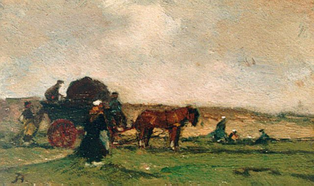 Johannes Evert Hendrik Akkeringa | Netmenders in the dunes, oil on panel, 7.5 x 12.6 cm, signed l.l. with monogram