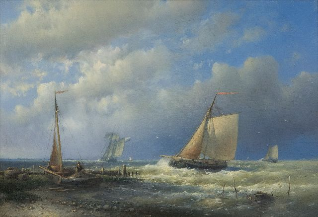 Abraham Hulk | Shipping off the coast, oil on panel, 17.9 x 26.2 cm, signed l.l. with initials