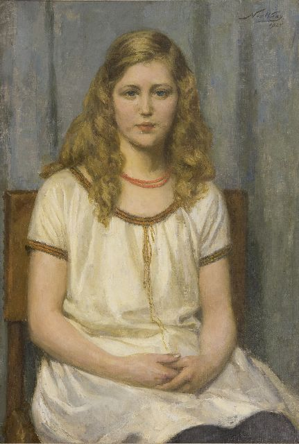 Waay N. van der | Portrait of miss T. de K., oil on canvas 80.3 x 54.0 cm, signed u.r. and dated 1925