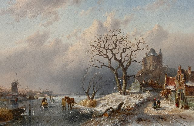 Charles Leickert | Winter landscape with skaters and land folk on a path, oil on canvas, 80.0 x 120.8 cm, signed l.l.