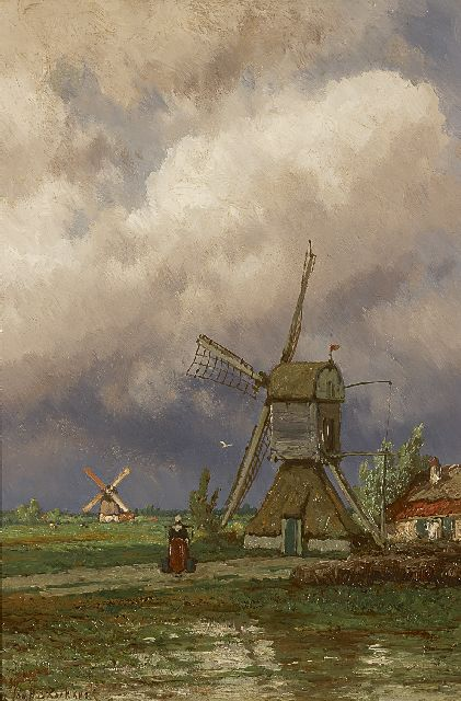 Jan H.B. Koekkoek | Mills in the polder near Kortenhoef, oil on panel, 49.5 x 33.0 cm, signed l.l.