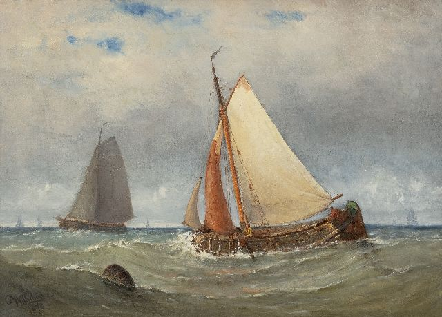Willem Johannes Schütz | Navigating sailing boats, oil on canvas, 42.1 x 58.7 cm, signed l.l. and dated 1878