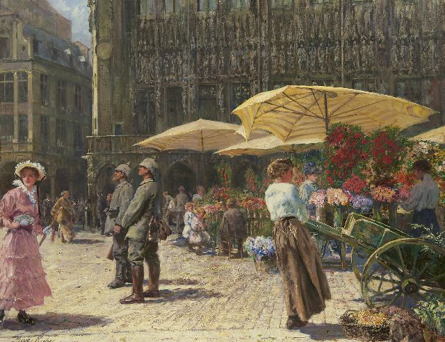 Max Rabes | Flower market in Brussels, oil on canvas, 80.2 x 100.2 cm, signed l.l.