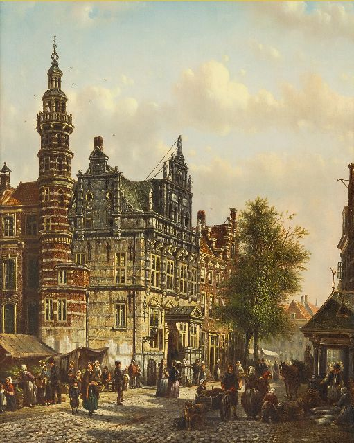 Johannes Franciscus Spohler | The Old City Hall of The Hague on the Groenmarkt, oil on panel, 40.0 x 32.9 cm, signed l.r.