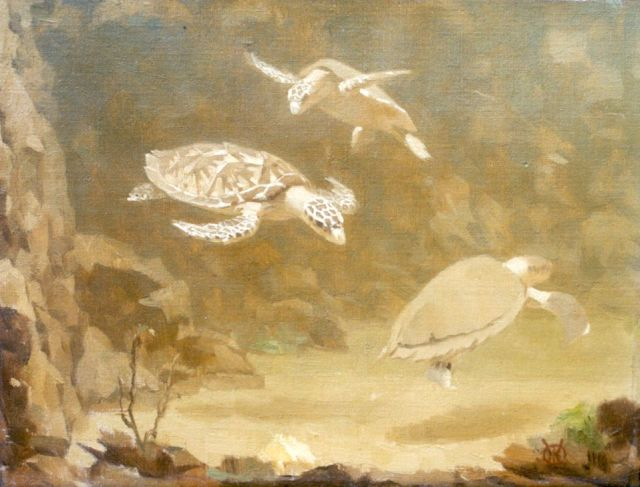 Gerrit Willem Dijsselhof | Turtles, oil on canvas, 20.5 x 26.5 cm, signed l.r. with monogram