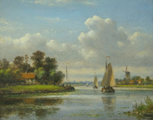 Lodewijk Johannes Kleijn | Shipping on a river, in summer, oil on panel, 16.9 x 20.9 cm