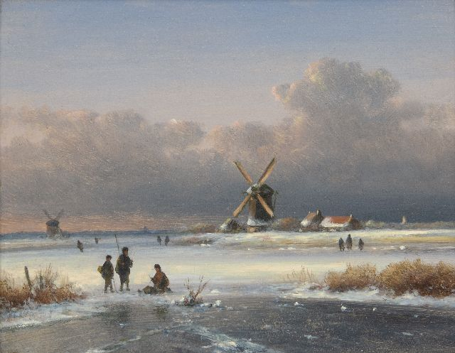 Lodewijk Johannes Kleijn | Winter landscape with fishermen on the ice, oil on panel, 15.6 x 19.9 cm