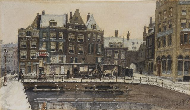 Tinus de Jongh | The Rokin in Amsterdam, in winter, watercolour on paper, 34.6 x 61.0 cm, signed l.r. and painted ca. 1910