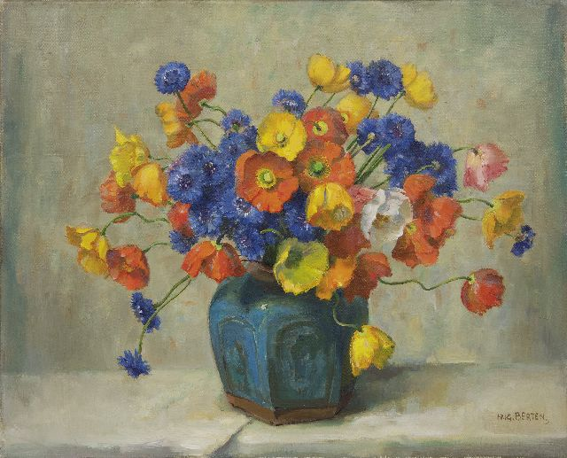 Hugo Berten | Poppies and cornflowers in a ginger pot, oil on canvas, 40.3 x 50.2 cm, signed l.r.