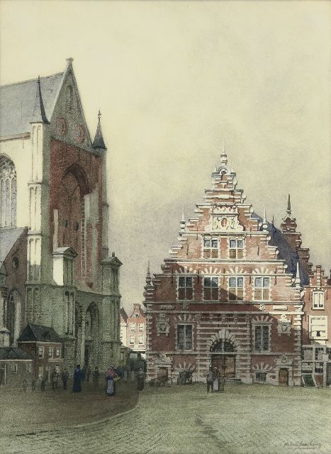 Karel Klinkenberg | The Grote markt and the Meat hall in Haarlem, watercolour on paper, 46.0 x 34.0 cm, signed l.r.
