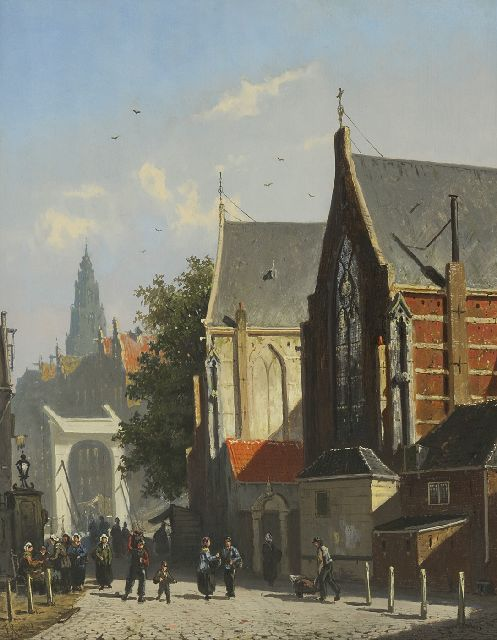 Frederik Roosdorp | A town view with figures by a draw bridge, oil on panel, 34.9 x 28.2 cm, signed l.l.