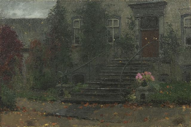 Jan Bogaerts | A view of the entry of a country house, oil on canvas, 40.4 x 60.7 cm, signed l.r. and dated 1904