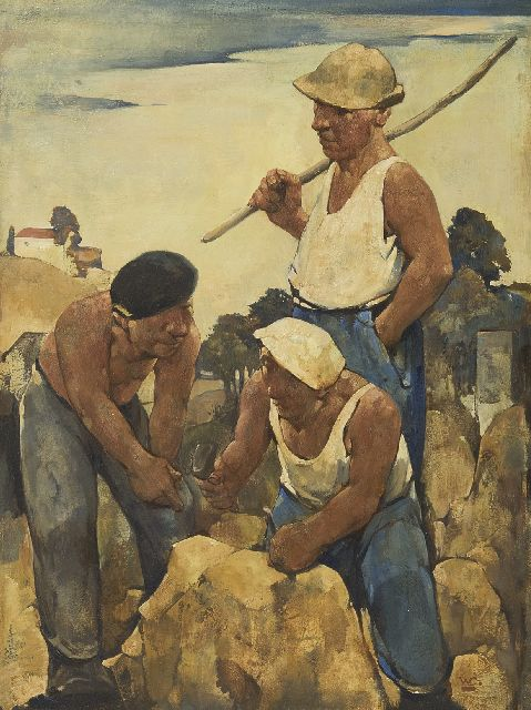 Berg W.H. van den | Stone masons, oil on painter's board 39.9 x 30.0 cm, signed l.r. with initial