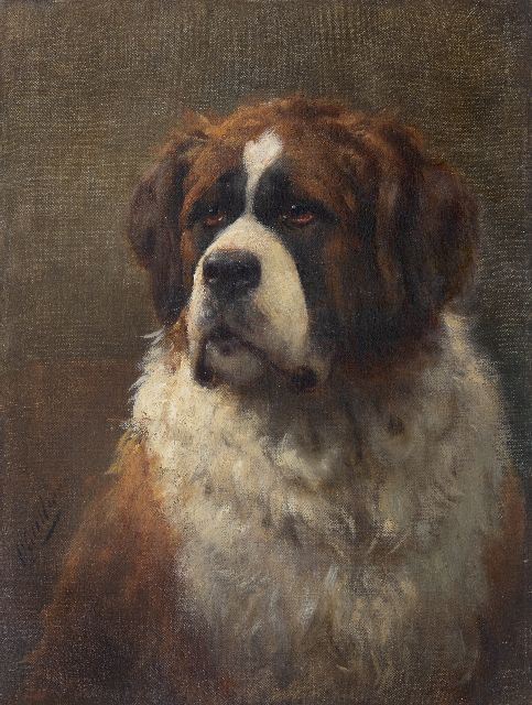 Otto Eerelman | Portrait of a Saint Bernard, oil on canvas, 60.4 x 46.0 cm, signed l.l.