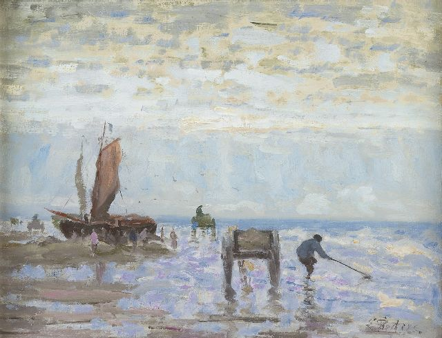 Evert Pieters | Shell fishers, Katwijk, oil on canvas, 37.4 x 49.5 cm, signed l.r. and painted between 1900-1910.
