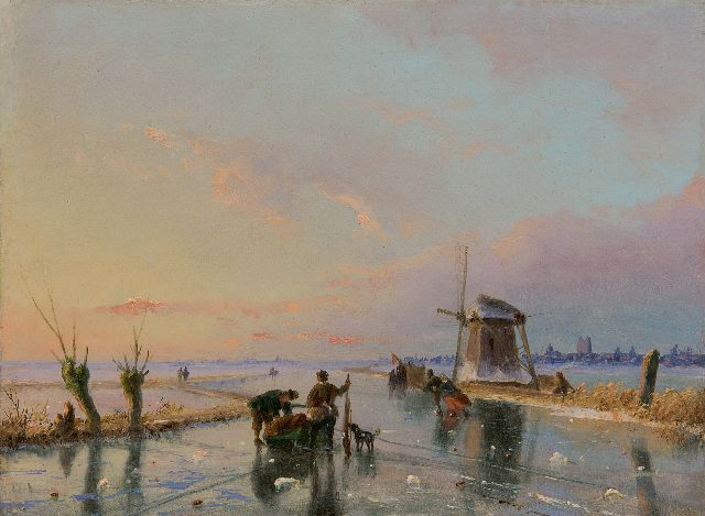 Nicolaas Johannes Roosenboom | Skaters and a sledge in an extensive winter landscape, oil on panel, 16.3 x 21.9 cm