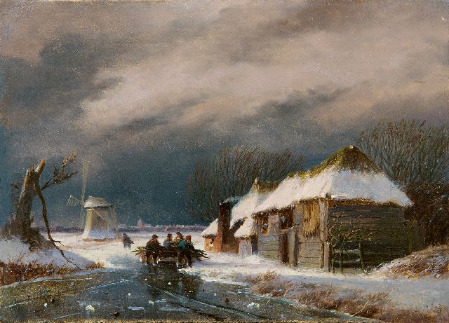Nicolaas Johannes Roosenboom | Figures on the ice in a storm, oil on panel, 16.0 x 21.9 cm