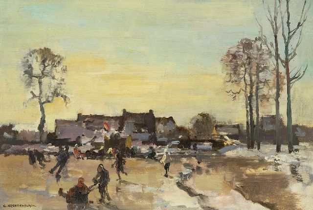 Cornelis Vreedenburgh | Winter fun on the floodplain, oil on panel, 23.9 x 35.1 cm, signed l.l.