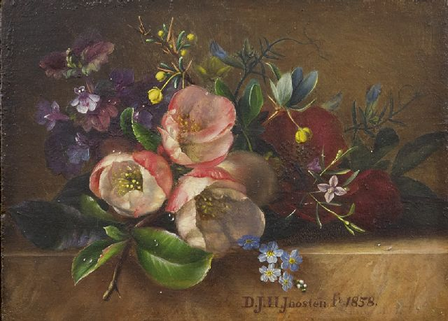 Joosten D.J.H.  | Flowers on a ledge, oil on panel 9.5 x 13.0 cm, signed l.c. and dated 1858