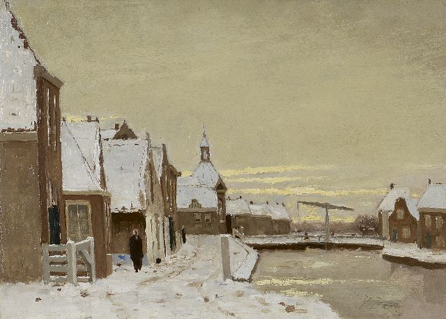 Victor Bauffe | Leidschendam in winter with a drawbridge, oil on canvas, 25.3 x 35.7 cm, signed l.r.