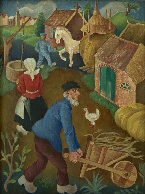 Schrikkel J.L.  | A farmyard, oil on canvas laid down on panel 35.5 x 27.1 cm, signed l.l. and dated 1936