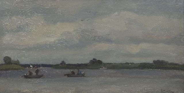 Cor Noltee | Fishermen on the Wantij, Dordrecht, oil on painter's board, 29.0 x 55.2 cm, signed l.r.