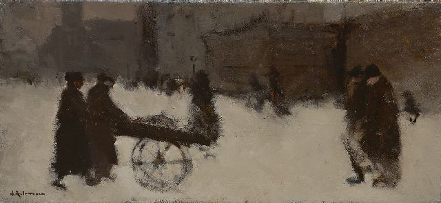 Jan Rijlaarsdam | Figures and a cart in the snow, oil on canvas, 30.4 x 60.8 cm, signed l.l.