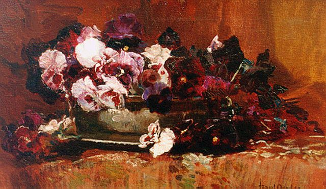 Oerder F.D.  | A still life with purple violets, oil on canvas 30.0 x 50.5 cm, signed l.r.