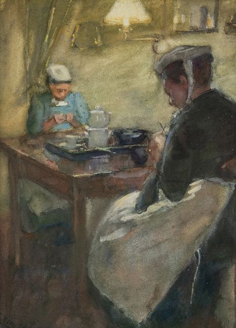 Elisabeth Adriani-Hovy | Service workers in lamplight, pastel on paper, 49.4 x 38.7 cm, signed l.l. and dated '94