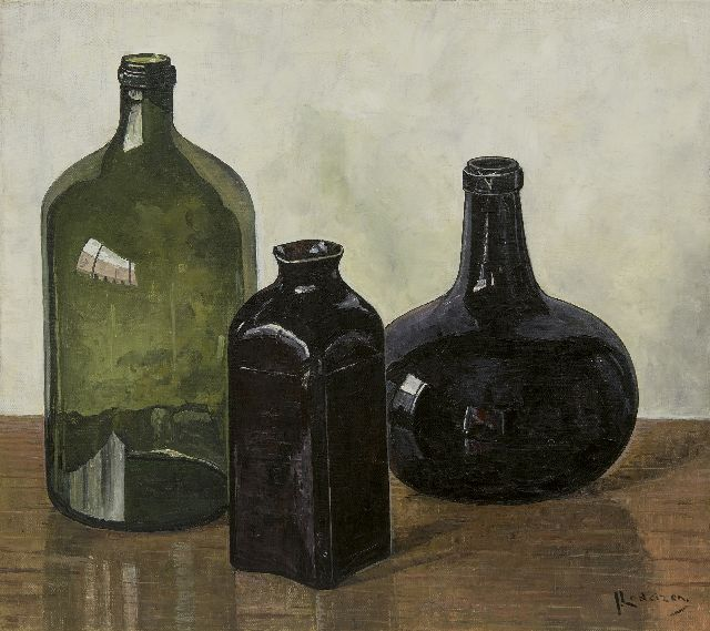Jo Lodeizen | Still life with bottles, oil on canvas, 45.3 x 50.7 cm, signed l.r.