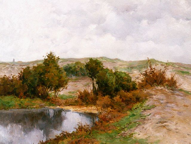 Adriaan Miolée | A stream in a summer landscape, oil on painter's cardboard, 40.0 x 49.7 cm, signed l.r.