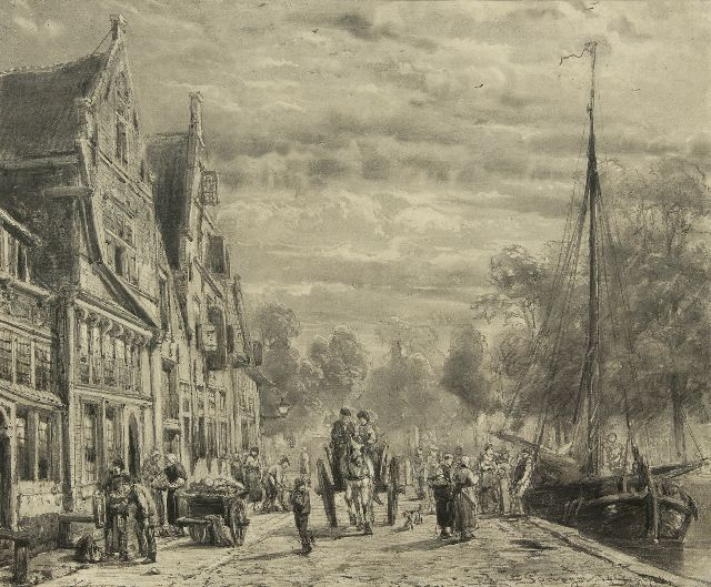 Springer C.  | The Biersluis te Hoorn, charcoal on paper 52.2 x 63.2 cm, signed l.r. and dated 14 Sept. 1874