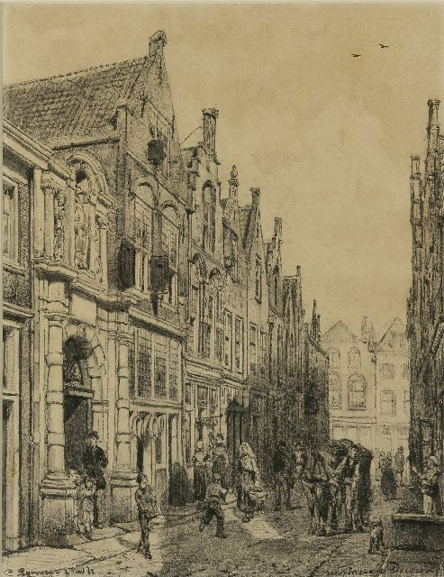 Springer C.  | The  Vriesestraat in Dordrecht with the entrance of the Gemeenteschool, charcoal on paper 50.7 x 39.6 cm, signed l.l. and dated 1 Nov. '82
