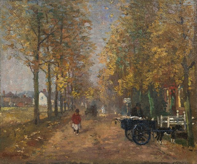 Frans Langeveld | Village lane in autumn (Laren), oil on canvas, 55.5 x 66.6 cm, signed l.l.