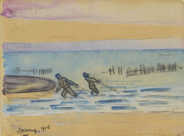 Toorop J.Th.  | Prawn fishers, Zeeland, black chalk and watercolour on paper, 11.4 x 15.1 cm, signed l.l. and dated 1916