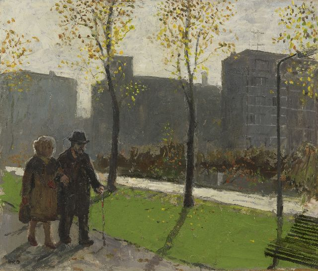 Harm Kamerlingh Onnes | Walking in the park, oil on board, 35.7 x 42.1 cm, signed l.l. and on the reverse with monogram and dated on the reverse 1965