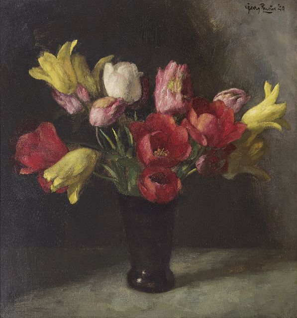 Georg Rueter | Tulips, oil on panel, 48.6 x 45.1 cm, signed u.r. and dated '44