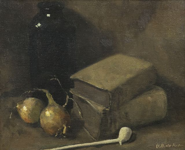 Otto B. de Kat | A still life with books, two onions and a Gouda pipe, oil on canvas, 34.5 x 42.2 cm, signed l.r.