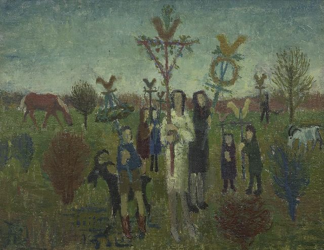 Kees Andréa | Palm Sunday, oil on board laid down on panel, 27.2 x 35.1 cm